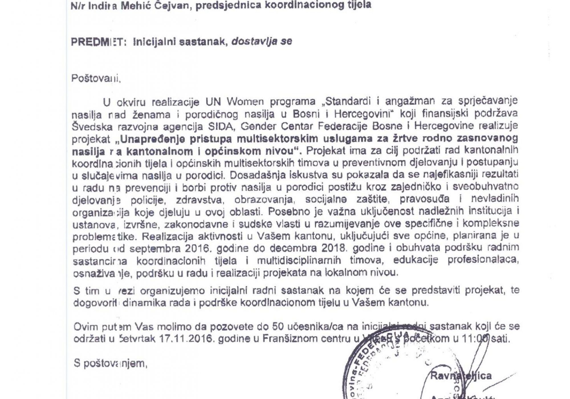 Informacija o Inicijalnom sastanku,koji će biti održan u Franšiznom centru u Vitezu 17.11.2016.godine sa početkom u 11h